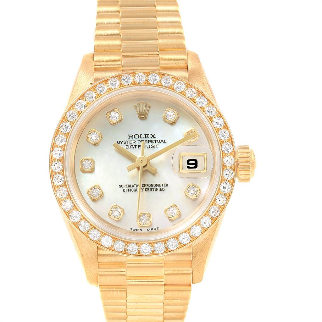 21691 Rolex President Datejust 26 Yellow Gold Diamond Ladies Watch 69138 SwissWatchExpo