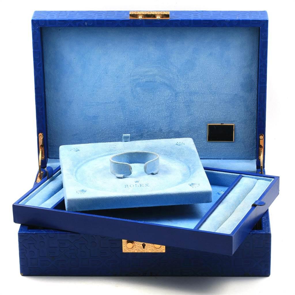 21702 Rolex President Yellow Gold Myriad Diamond Ruby Dial Ladies Watch 179238 SwissWatchExpo
