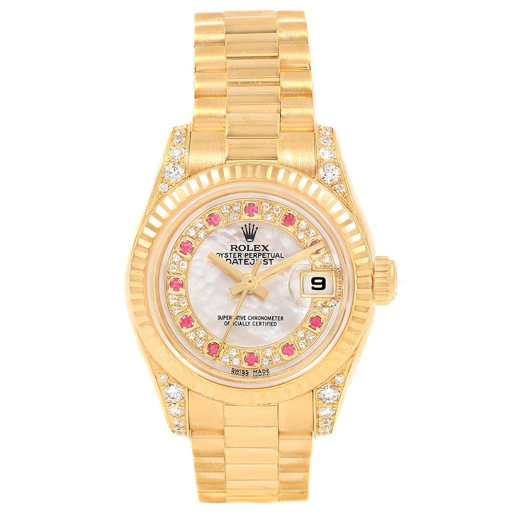 21702 Rolex President Yellow Gold Myriad Diamond Ruby Dial Ladies Watch 179238 SwissWatchExpo