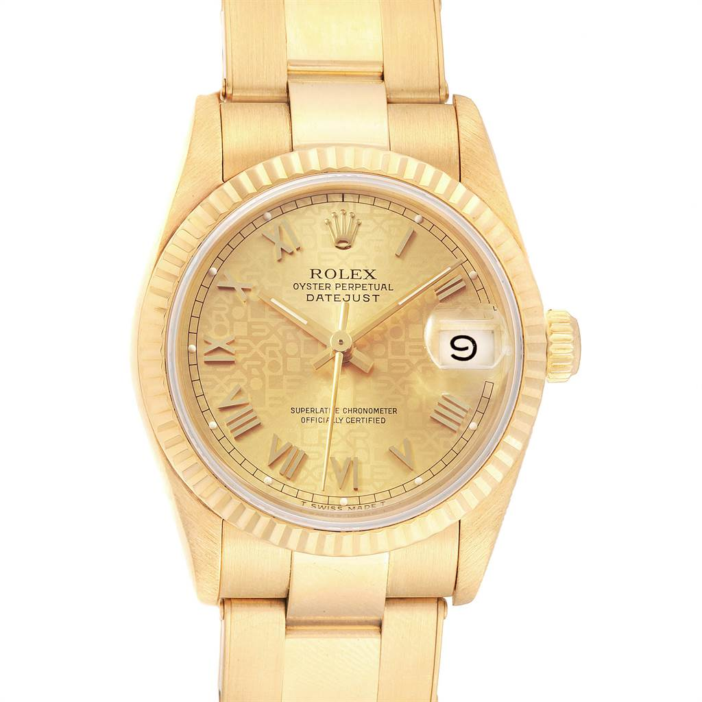 21955 Rolex President Datejust Midsize 31 Yellow Gold Ladies Watch 68278 SwissWatchExpo