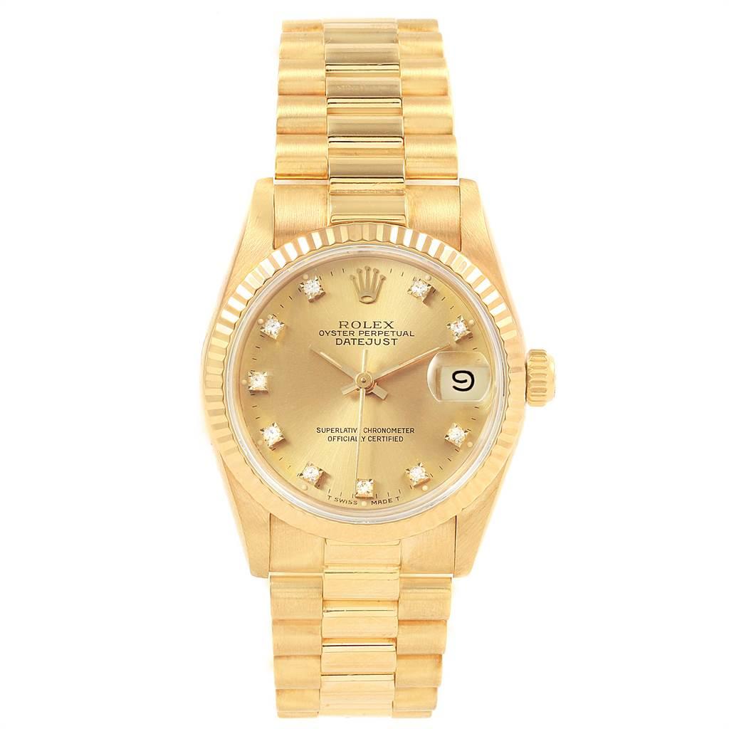 21860 Rolex President Datejust 31 Midsize 18K Gold Diamond Watch 68278 SwissWatchExpo
