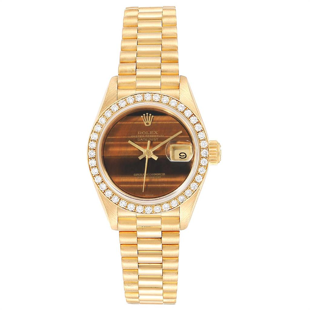 Rolex President Datejust 26 Yellow Gold Diamond Ladies Watch 69138 SwissWatchExpo