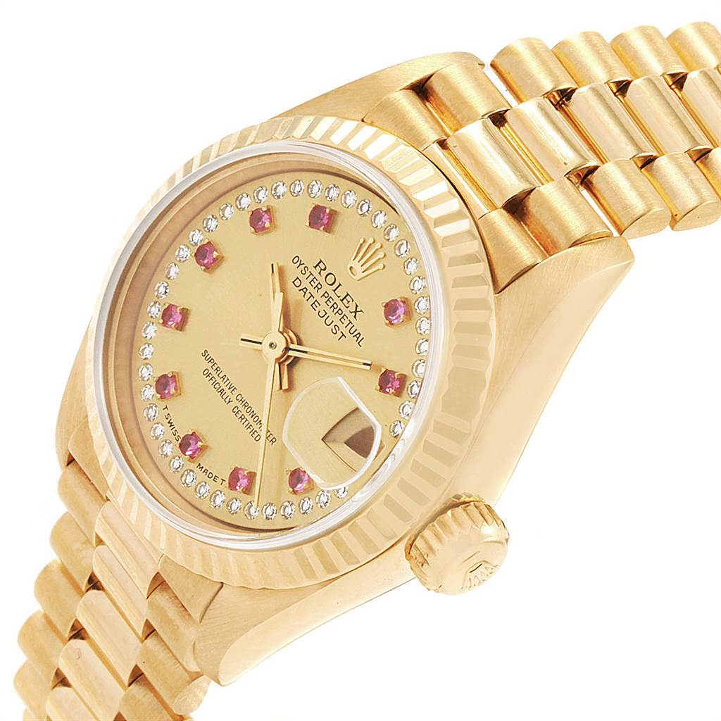 22330 Rolex President Yellow Gold String Diamond Rubies Ladies Watch 69158 SwissWatchExpo