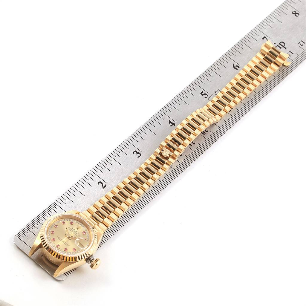 Rolex President Yellow Gold String Diamond Rubies Ladies Watch 69178 SwissWatchExpo