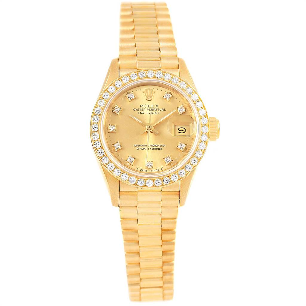 21972 Rolex President Datejust Diamond Dial Bezel 18K Yellow Gold Watch 69178 SwissWatchExpo