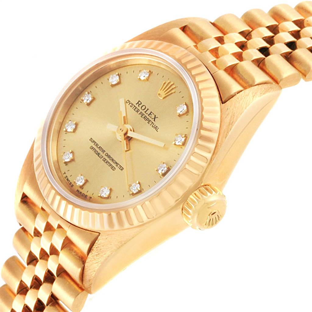 21971 Rolex President No-Date Yellow Gold Diamond Ladies Watch 67198 SwissWatchExpo