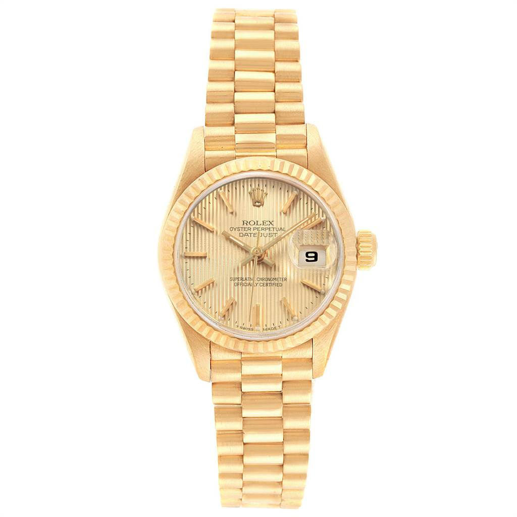 22251 Rolex President Datejust 26 Yellow Gold Ladies Watch 69178 Box Papers SwissWatchExpo