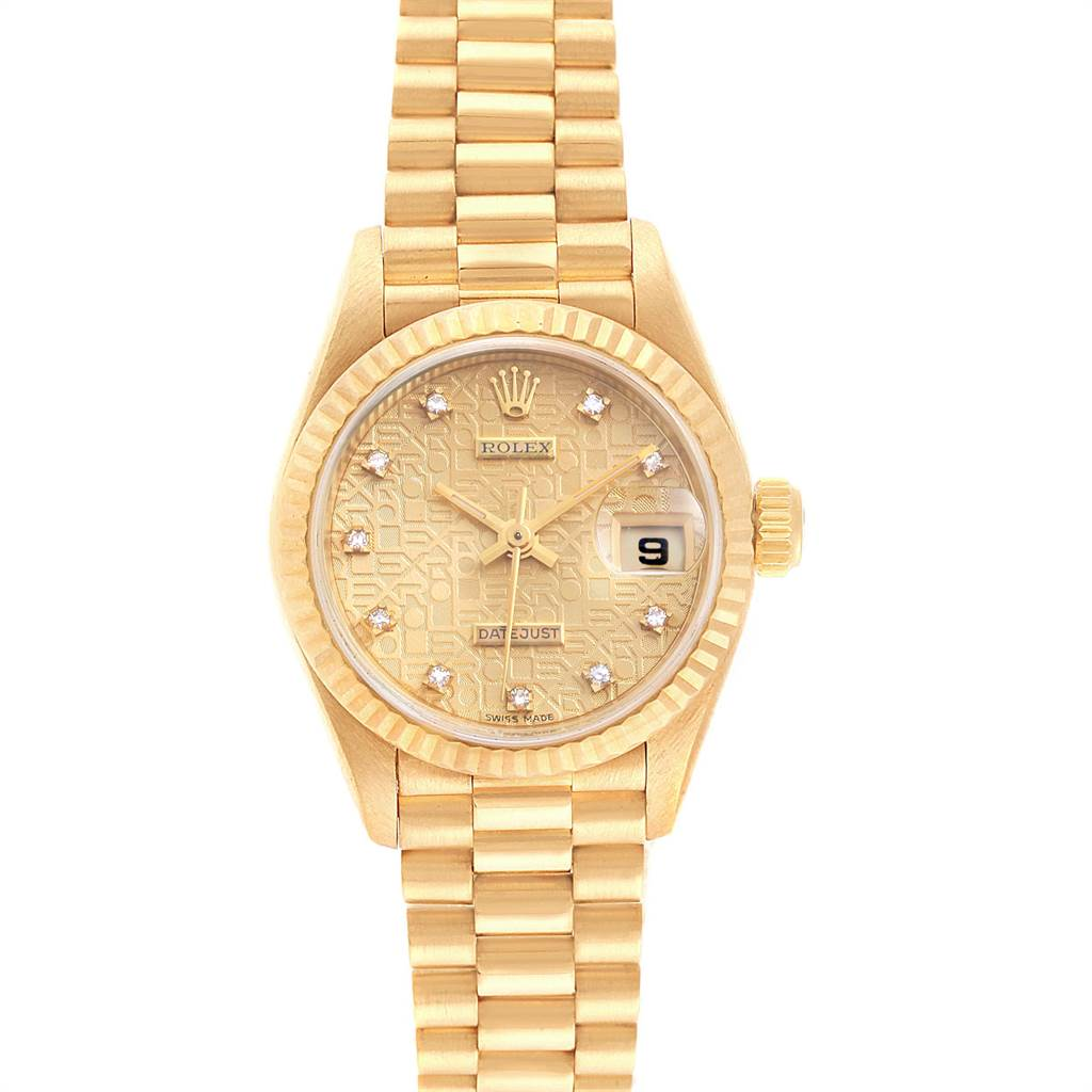 Rolex President 26 Yellow Gold Diamond Ladies Watch 69178 Box Papers SwissWatchExpo