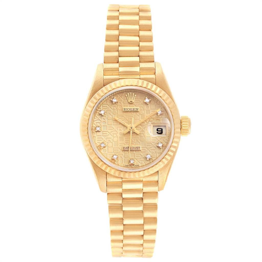 22459 Rolex President 26 Yellow Gold Diamond Ladies Watch 69178 Box Papers SwissWatchExpo