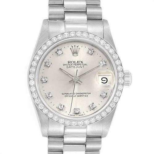 Photo of Rolex President Datejust Midsize Platinum Diamond Ladies Watch 68286