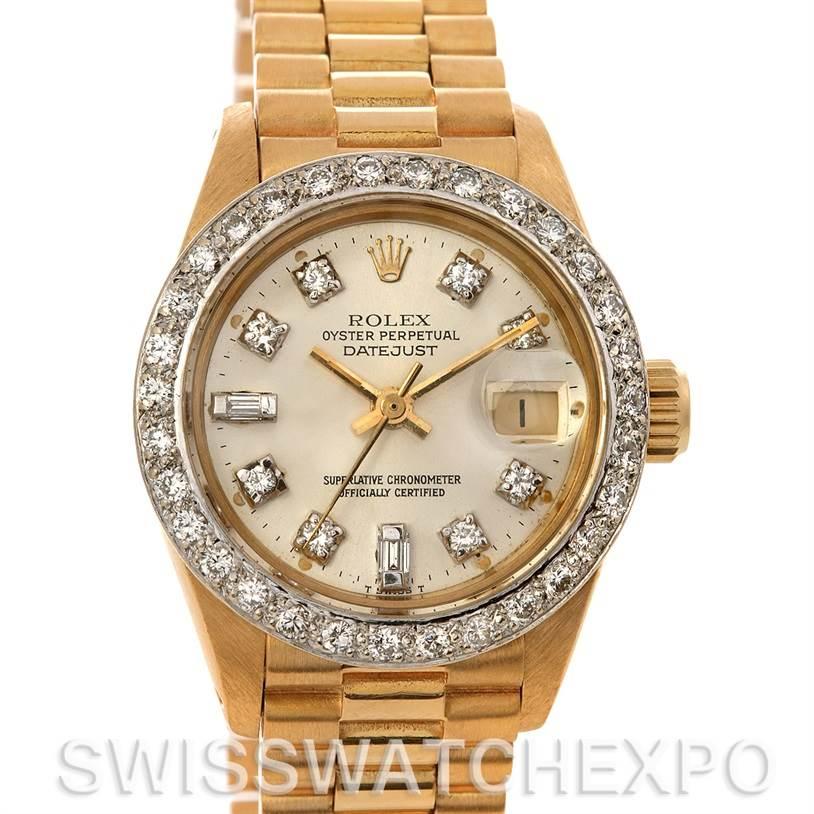 2450 Rolex President Ladies 18k Yellow Gold Diamonds 6917 SwissWatchExpo