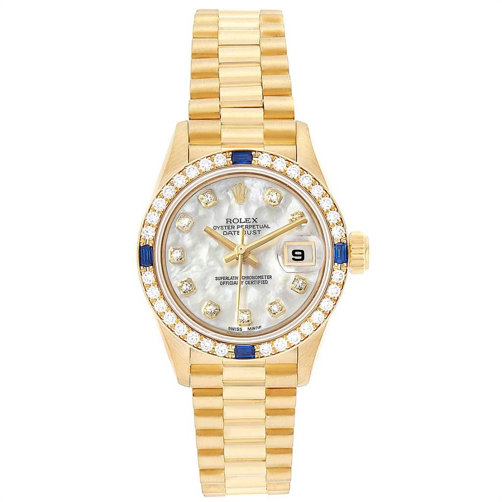 23340 Rolex President Datejust Yellow Gold Diamond Sapphire Ladies Watch 69088 SwissWatchExpo