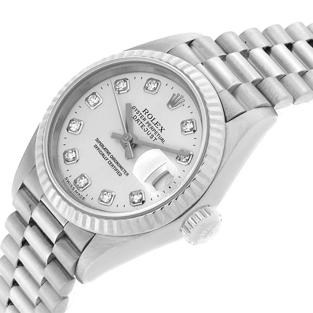 23012 Rolex President Datejust 26 White Gold Diamond Dial Ladies Watch 69179 SwissWatchExpo