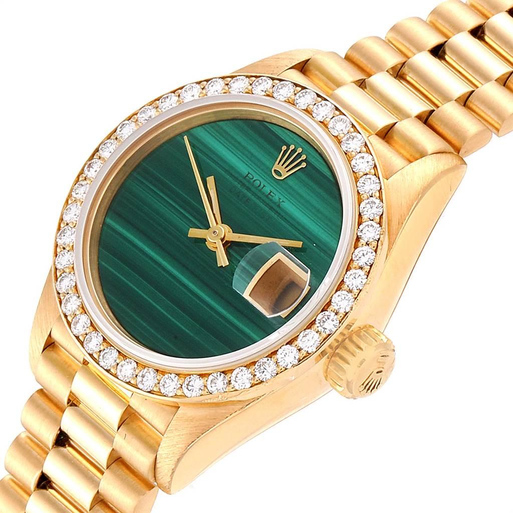 23391 Rolex President Datejust 26 Yellow Gold Malachite Diamond Watch 69138 SwissWatchExpo