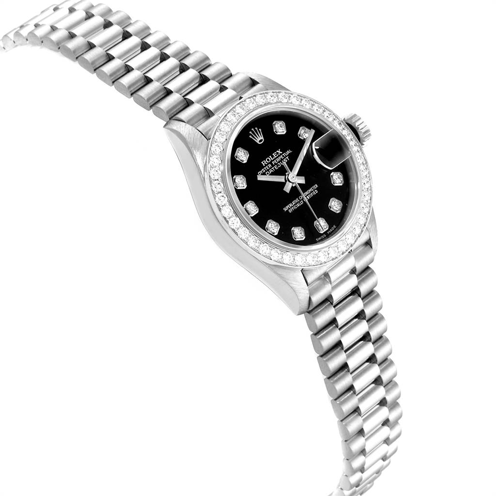 23681 Rolex President Datejust White Gold Black Diamond Dial Ladies Watch 79179 SwissWatchExpo