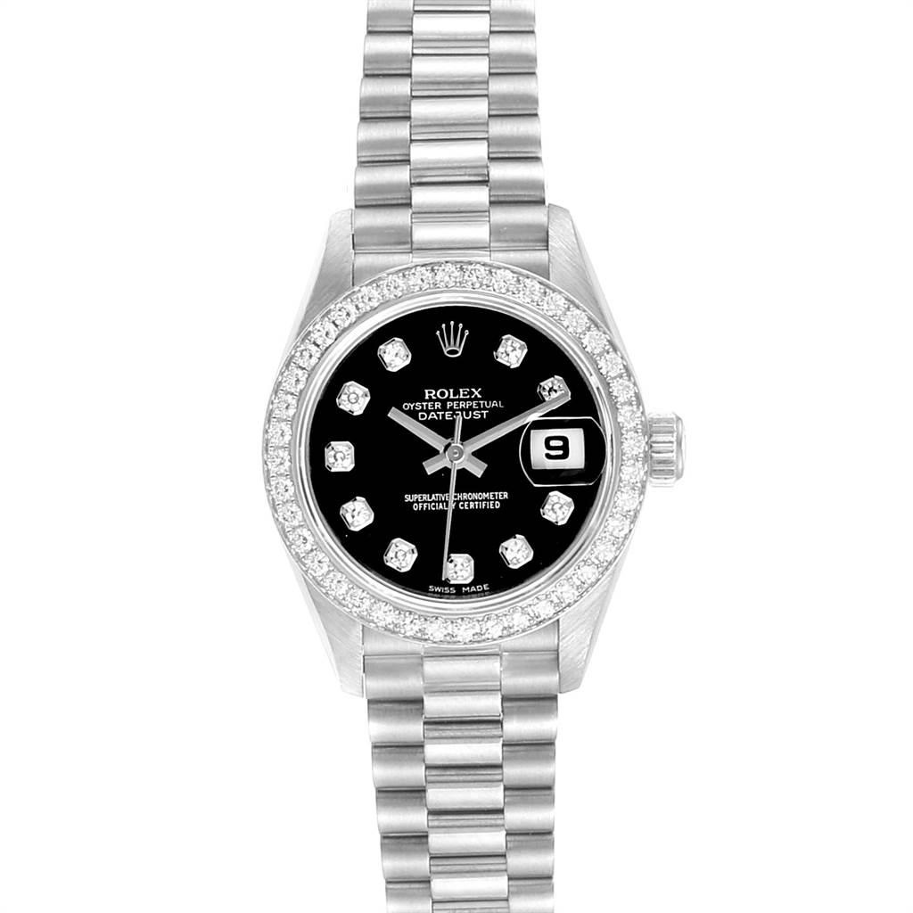 Rolex President Datejust White Gold Black Diamond Dial Ladies Watch 79179 SwissWatchExpo