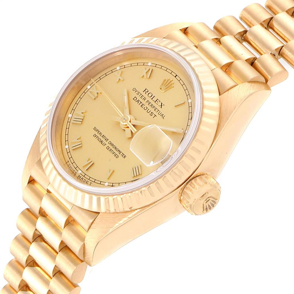 22617 Rolex President Datejust 26 Yellow Gold Ladies Watch 69178 Box Papers SwissWatchExpo