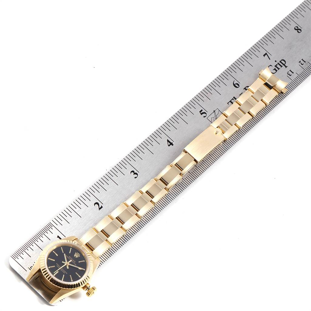 23639 Rolex President No-Date Yellow Gold Black Dial Ladies Watch 67198 SwissWatchExpo