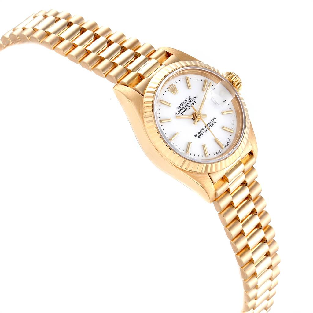23234 Rolex President Datejust 26 Yellow Gold White Dial Ladies Watch 69178 SwissWatchExpo