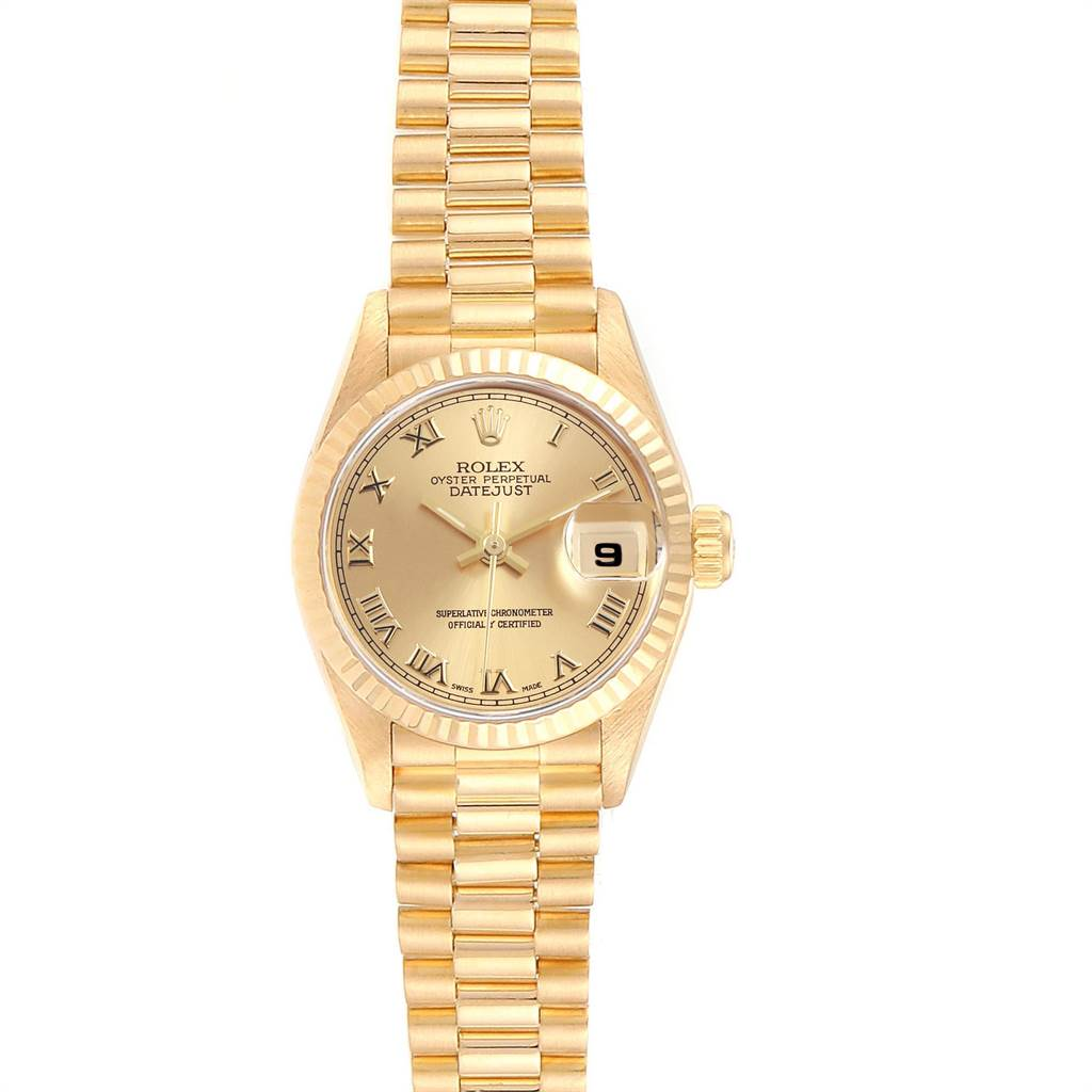 24046 Rolex President Datejust 18K Yellow Gold 26mm Ladies Watch 69178 SwissWatchExpo