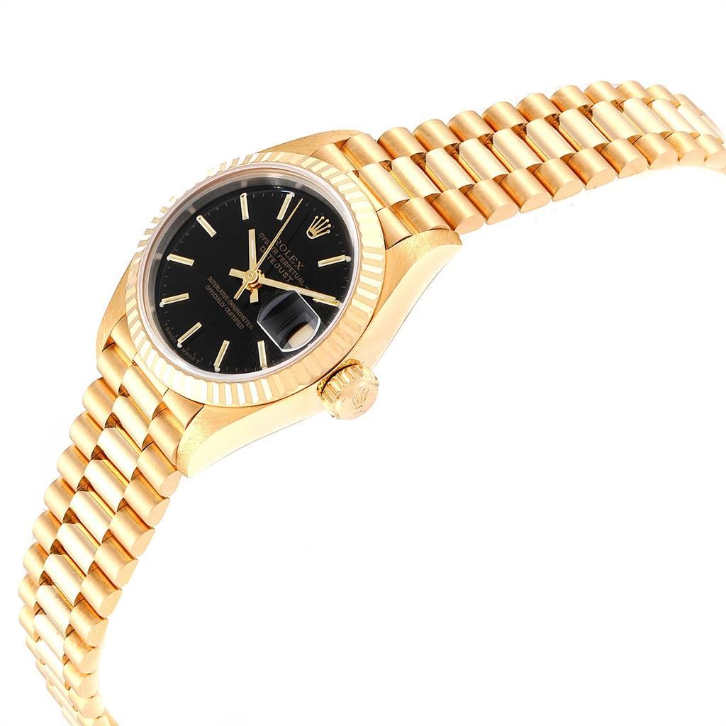 20764C Rolex President Datejust Black Dial Yellow Gold Ladies Watch 69178 SwissWatchExpo