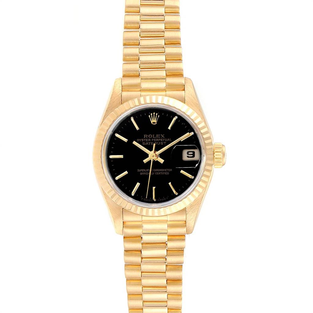 Rolex President Datejust Black Dial Yellow Gold Ladies Watch 69178 SwissWatchExpo