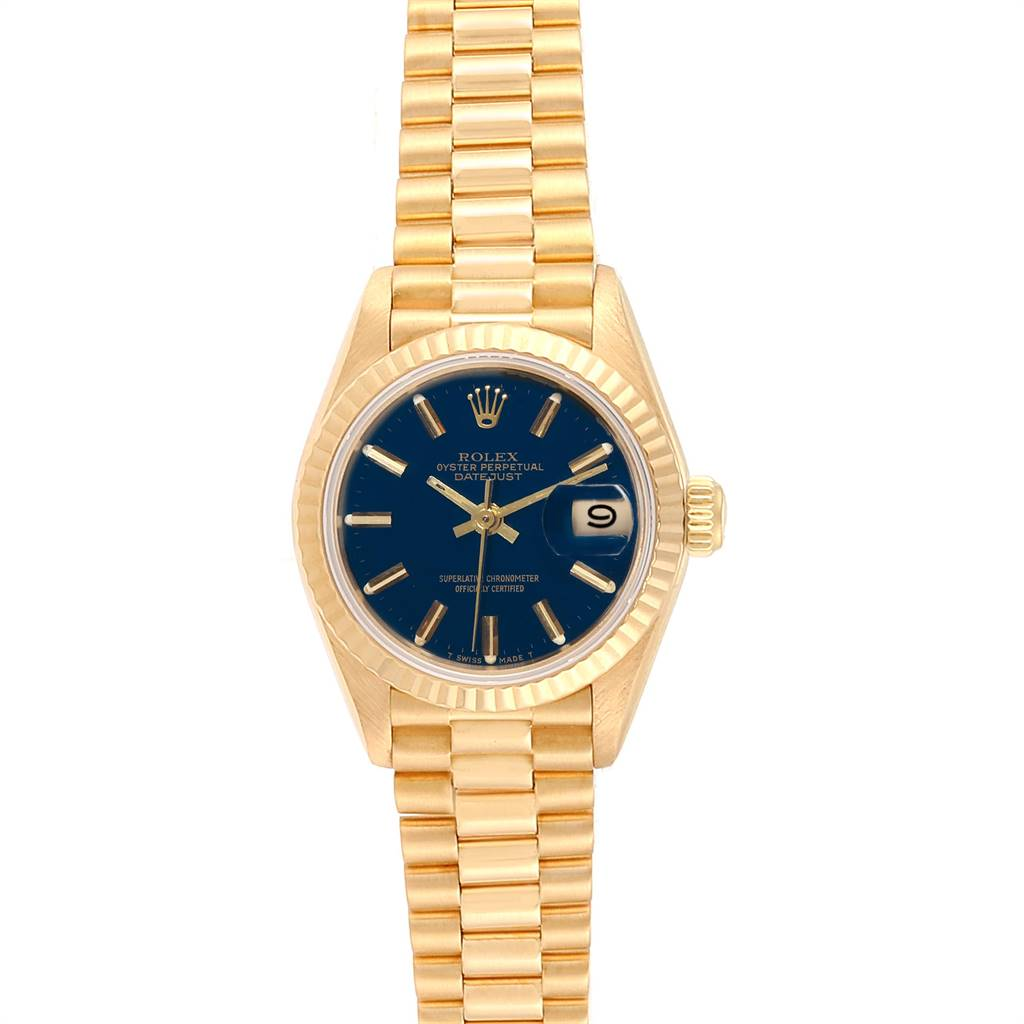 Rolex President Datejust 26 Yellow Gold Blue Dial Ladies Watch 69178 SwissWatchExpo