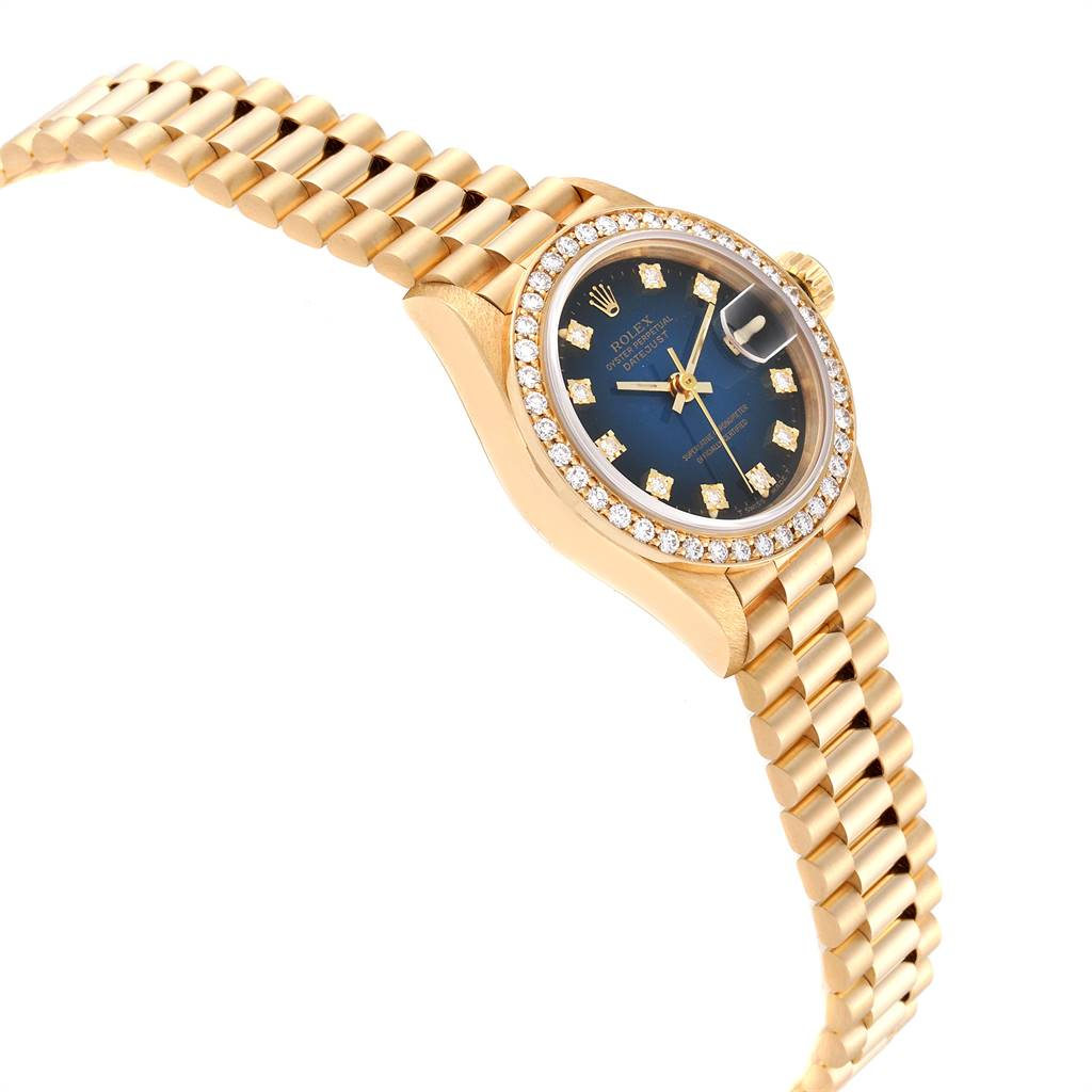 24176 Rolex President Yellow Gold Vignette Diamond Ladies Watch 69138 Box Papers SwissWatchExpo