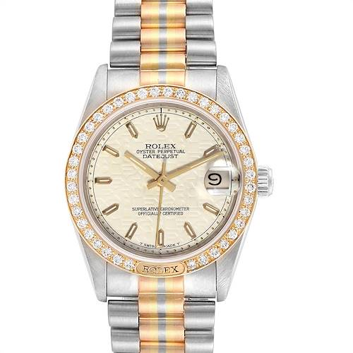 Photo of Rolex President Midsize Tridor White Yellow Rose Gold Diamond Ladies Watch 68149