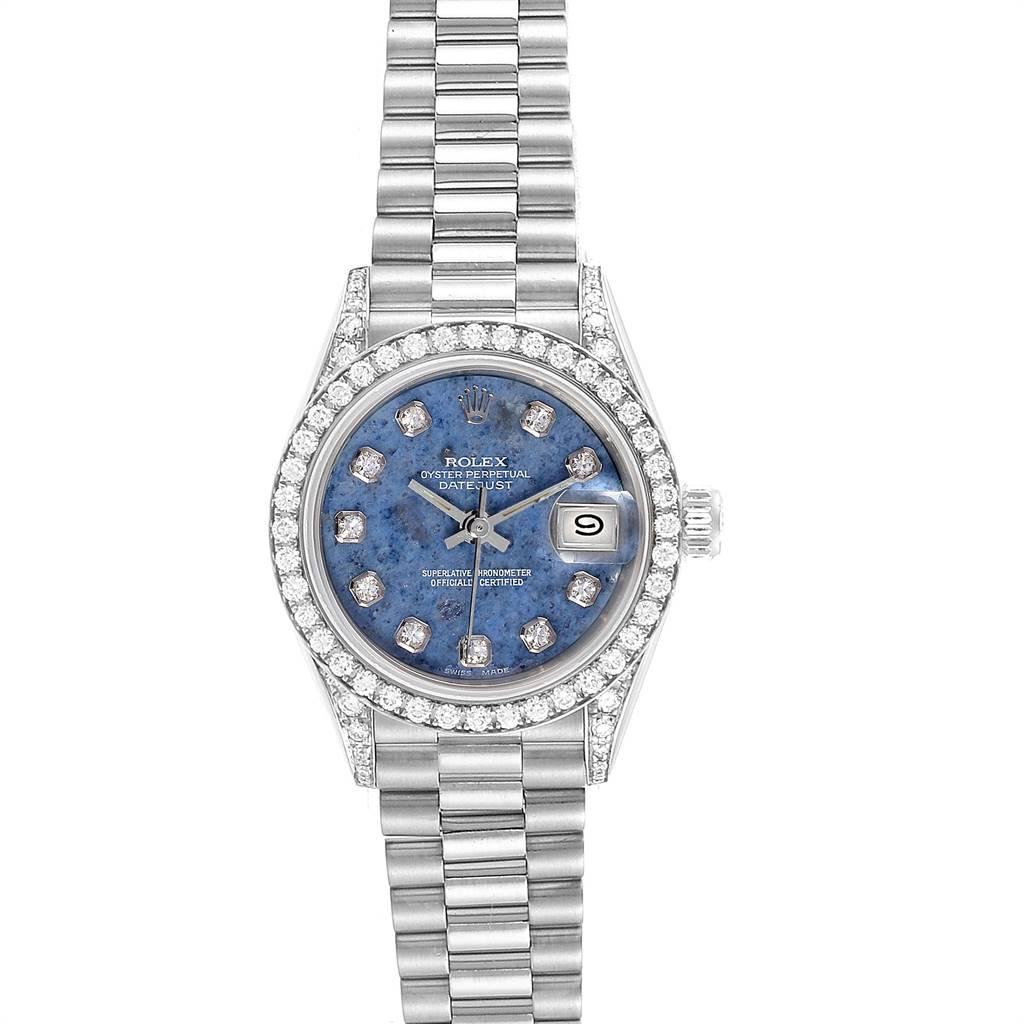 24603 Rolex President Datejust White Gold Sodalite Diamond Ladies Watch 69159 SwissWatchExpo