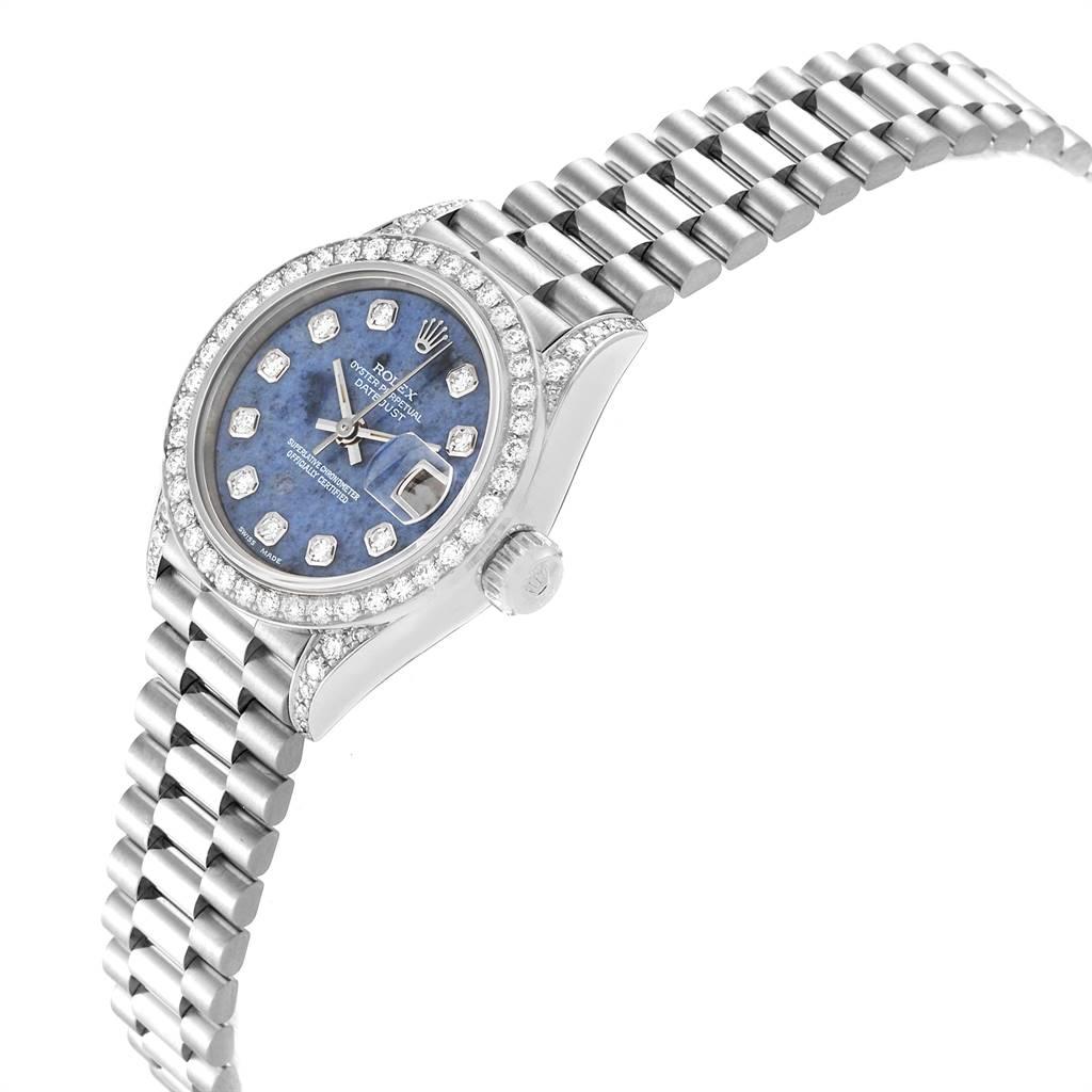 Rolex President Datejust White Gold Sodalite Diamond Ladies Watch 69159 SwissWatchExpo
