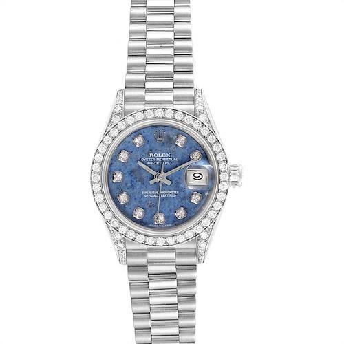 Photo of Rolex President Datejust White Gold Sodalite Diamond Ladies Watch 69159
