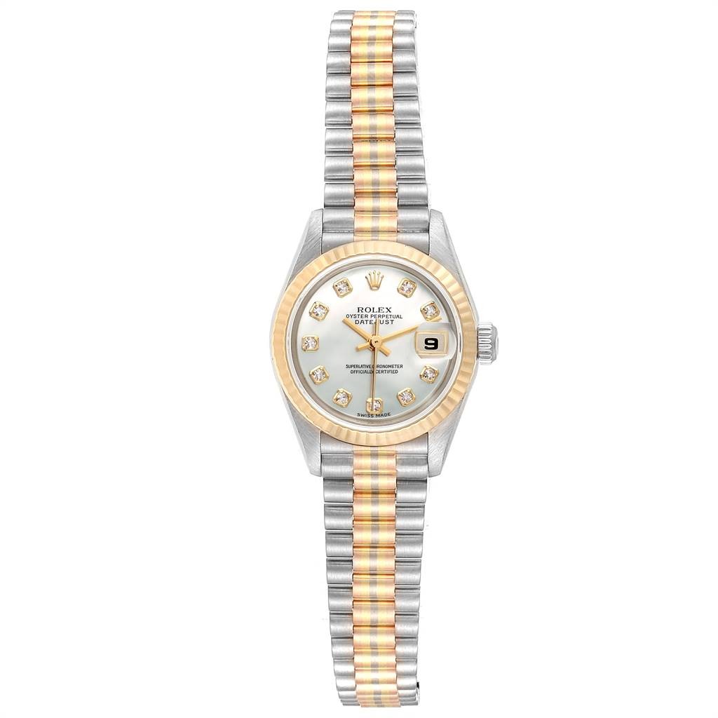 Rolex President Tridor White Yellow Rose Gold Diamond Ladies Watch 69179 SwissWatchExpo