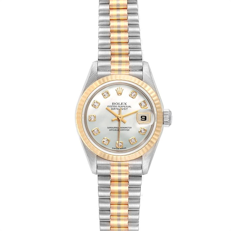 Rolex President Tridor White Yellow Rose Gold Diamond Ladies Watch 79179 SwissWatchExpo
