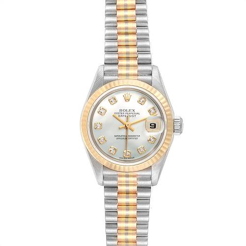 Rolex President Tridor White Yellow Rose Gold Diamond Ladies Watch 79179