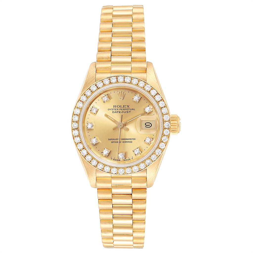 25026 Rolex President Datejust Yellow Gold Diamond Ladies Watch 69178 SwissWatchExpo