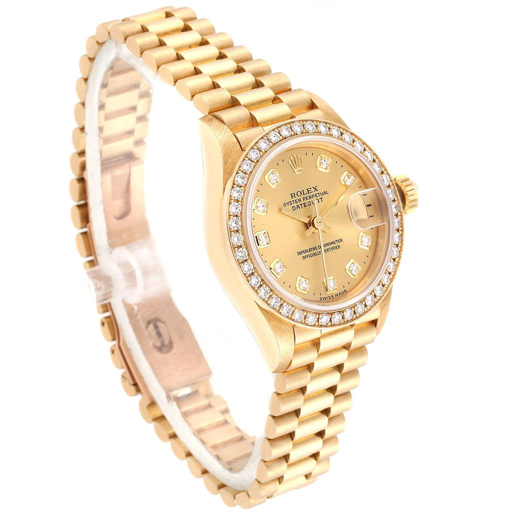 Rolex President Datejust 26mm Yellow Gold Diamond Ladies Watch 69138 SwissWatchExpo