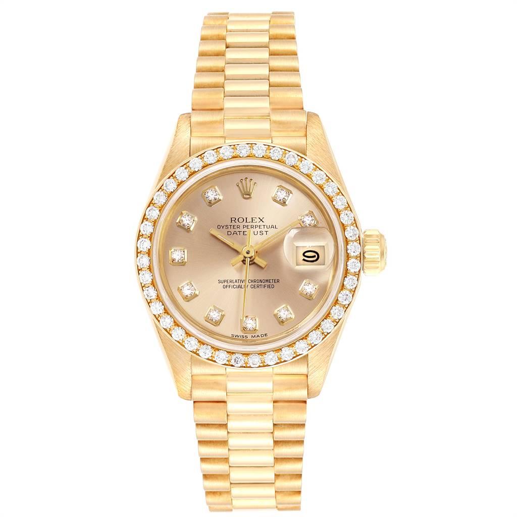 24849 Rolex President Datejust 26mm Yellow Gold Diamond Ladies Watch 69138 SwissWatchExpo