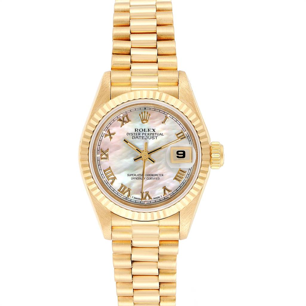 25053 Rolex President Datejust Yellow Gold Mother of Pearl Ladies Watch 69178 SwissWatchExpo