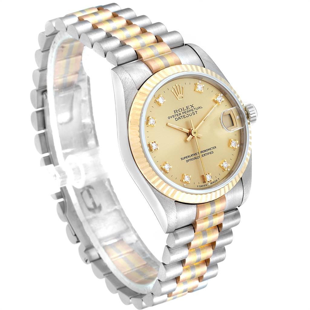 24977 Rolex President Tridor 31mm Midsize White Yellow Rose Diamond Watch 68279 SwissWatchExpo