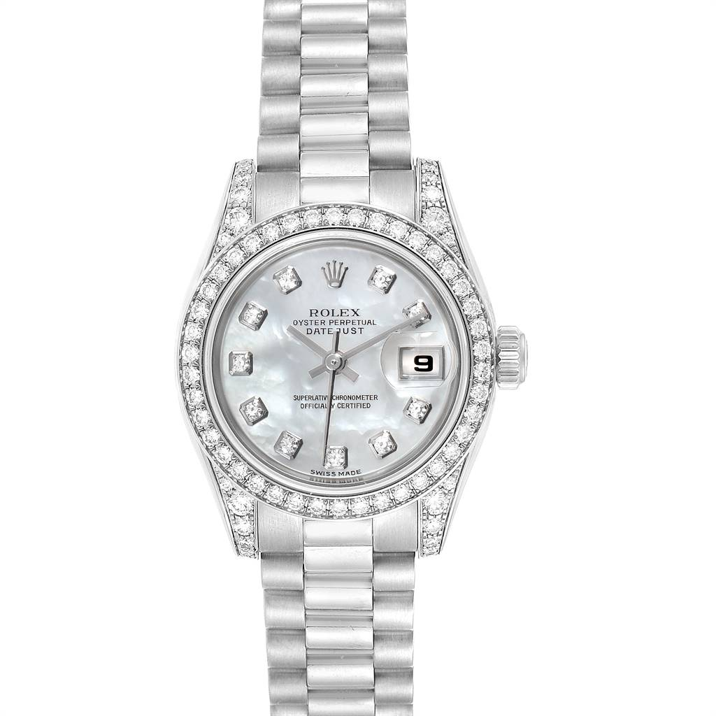 25137 Rolex President Ladies 18K White Gold Diamond Lugs Watch 179159 SwissWatchExpo