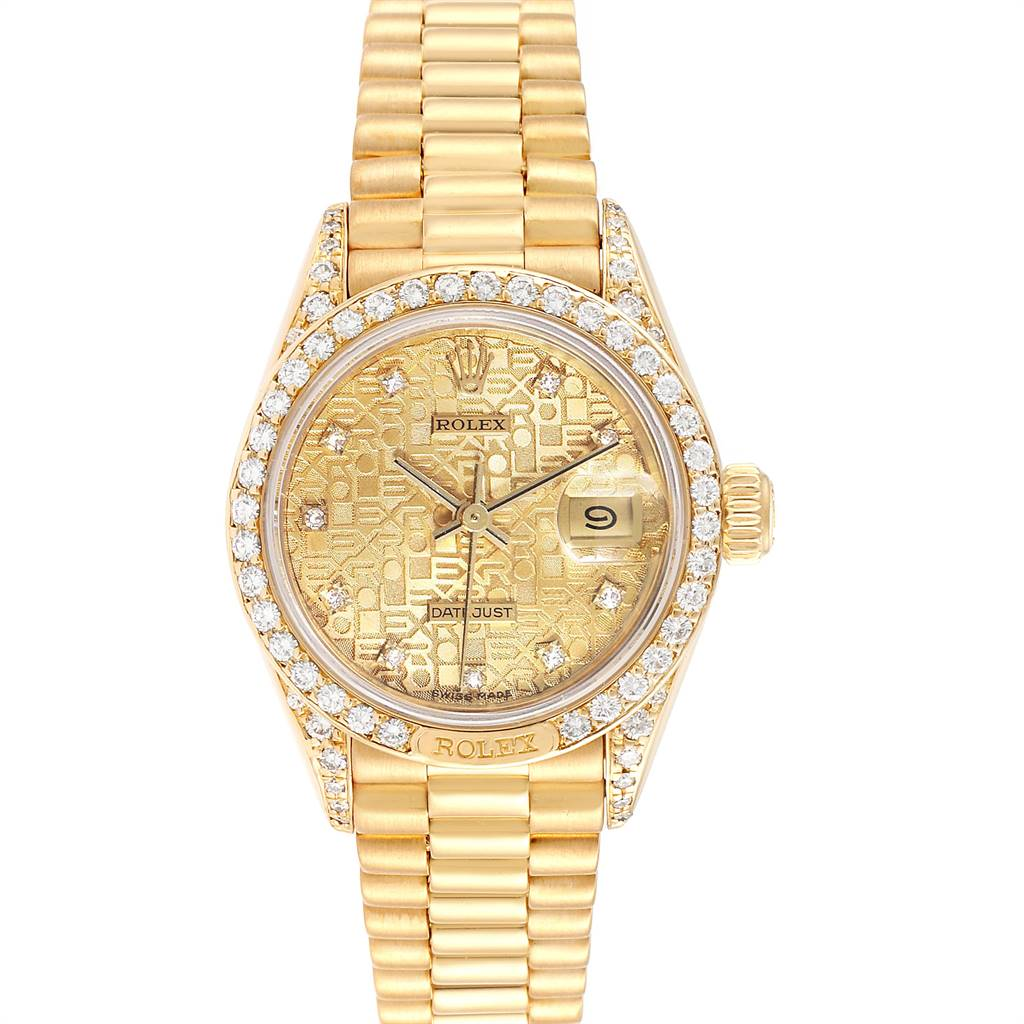 Rolex President Yellow Gold Anniversary Dial Diamond Ladies Watch 69158 SwissWatchExpo