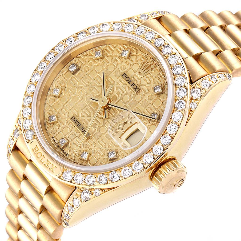25129 Rolex President Yellow Gold Anniversary Dial Diamond Ladies Watch 69158 SwissWatchExpo