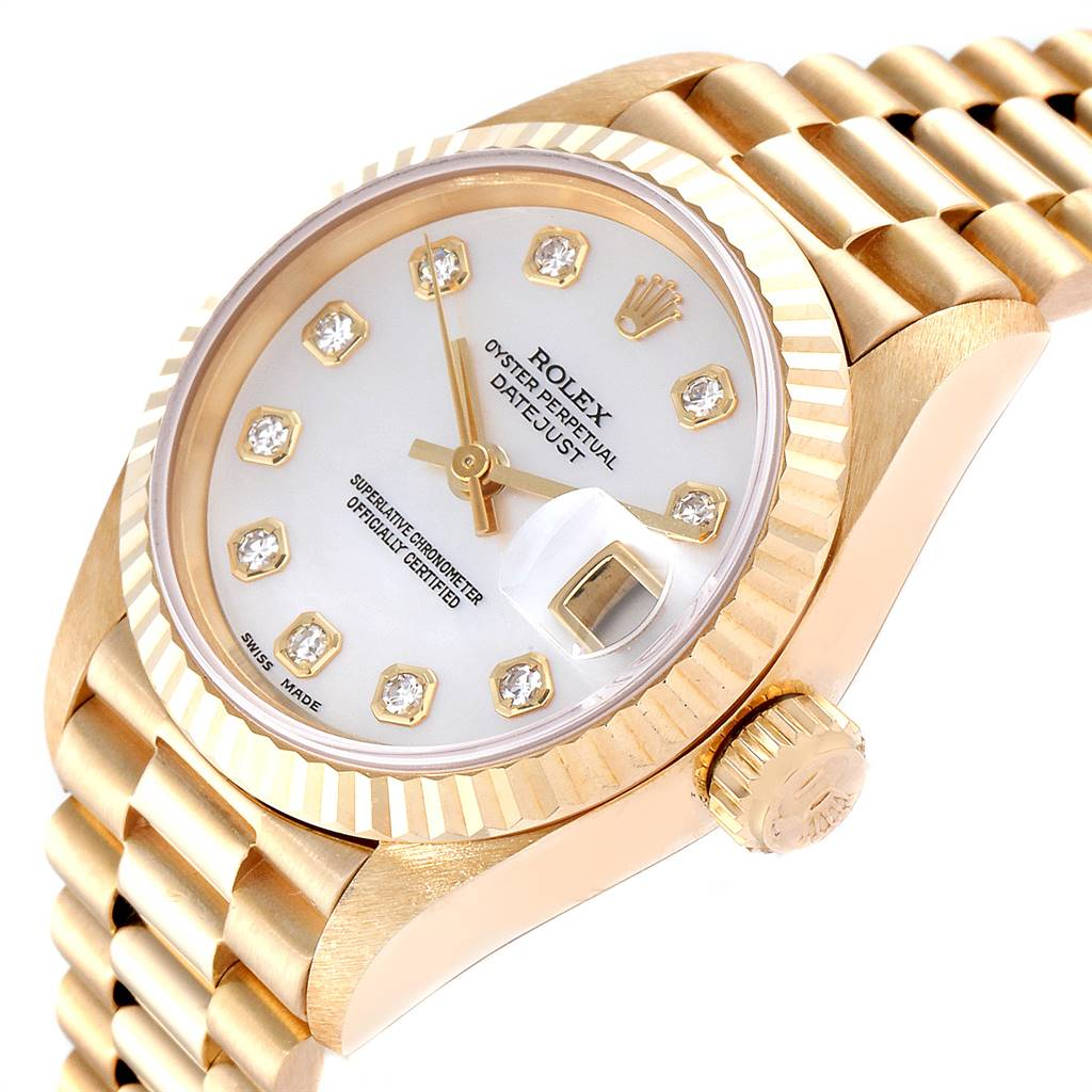 24774 Rolex President Datejust Yellow Gold MOP Diamond Ladies Watch 69178 SwissWatchExpo