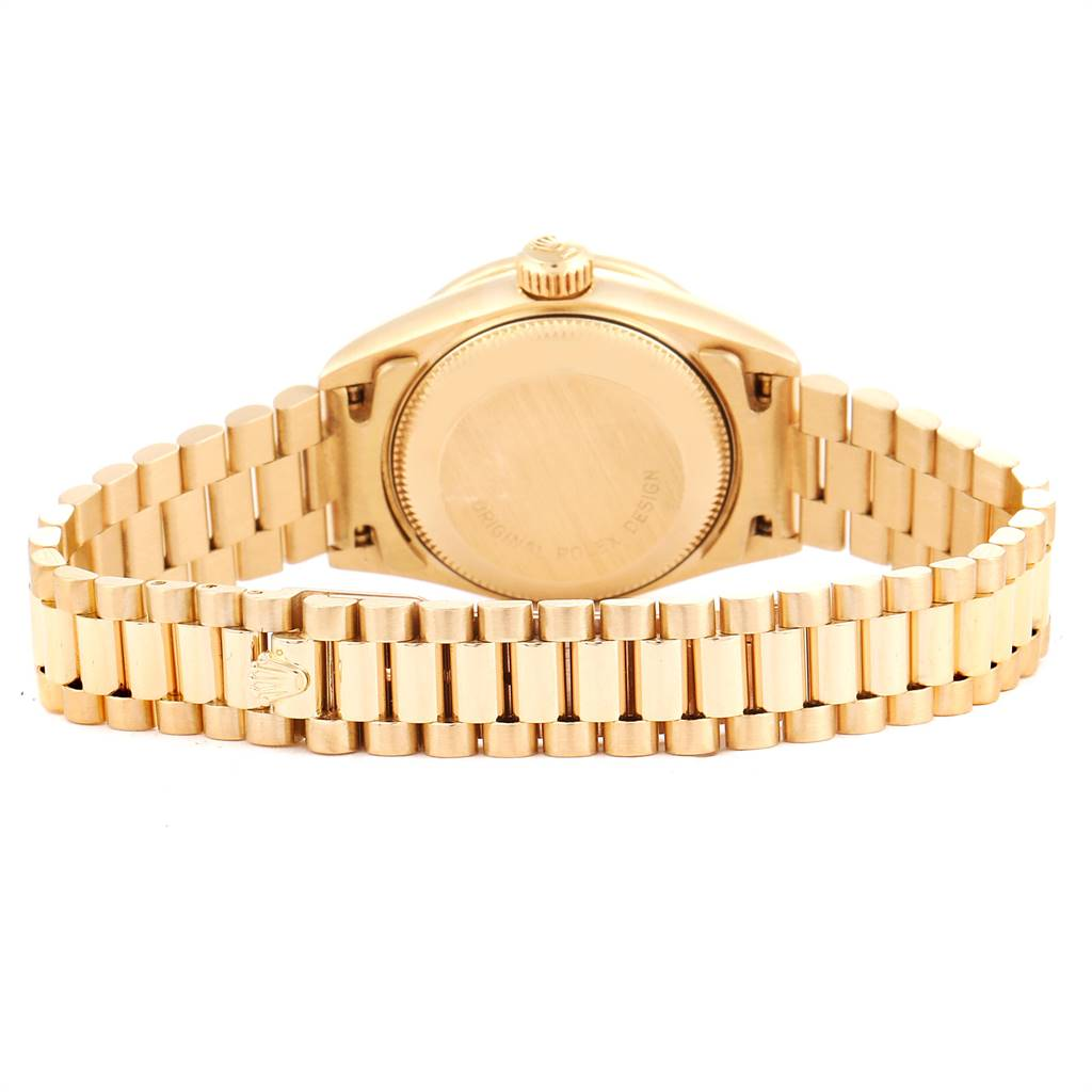 25026A Rolex President Yellow Gold Blue Jadeite Diamond Ladies Watch 69178 SwissWatchExpo