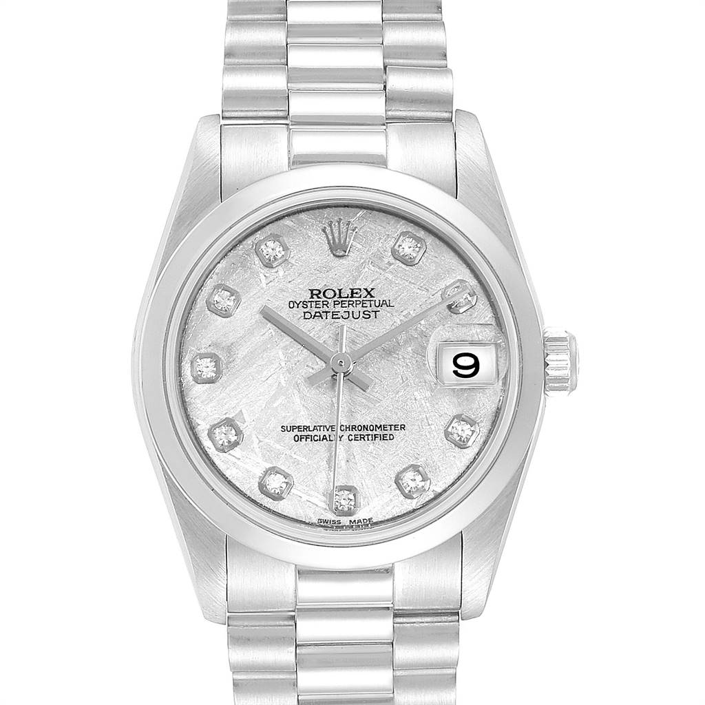 Rolex President Midsize Platinum Meteorite Diamond Ladies Watch 78246
