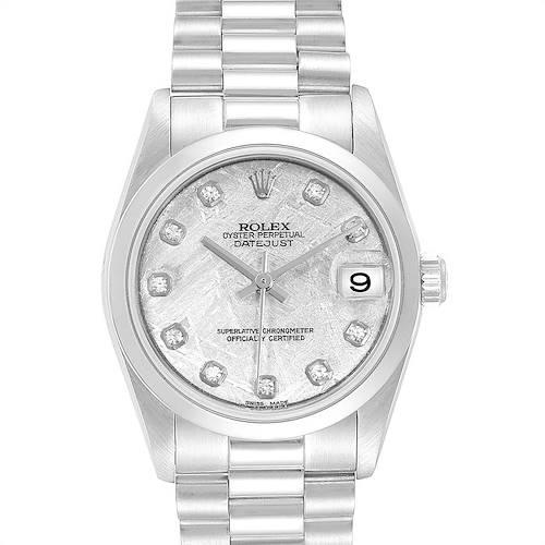 Photo of Rolex President Midsize Platinum Meteorite Diamond Ladies Watch 78246
