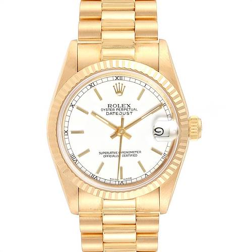 Photo of Rolex President Datejust Midsize White Dial Yellow Gold Ladies Watch 68278