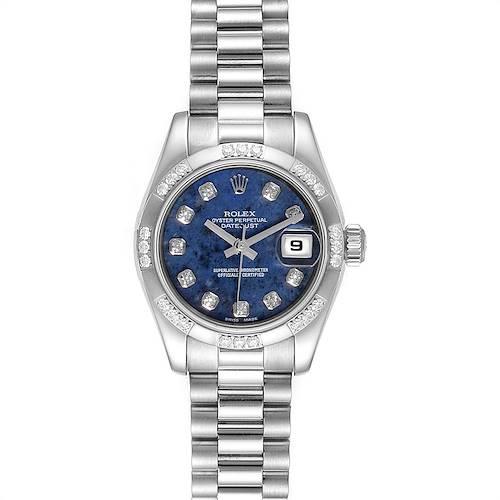 Photo of Rolex President White Gold Sodalite Diamond Ladies Watch 179369 Box Card