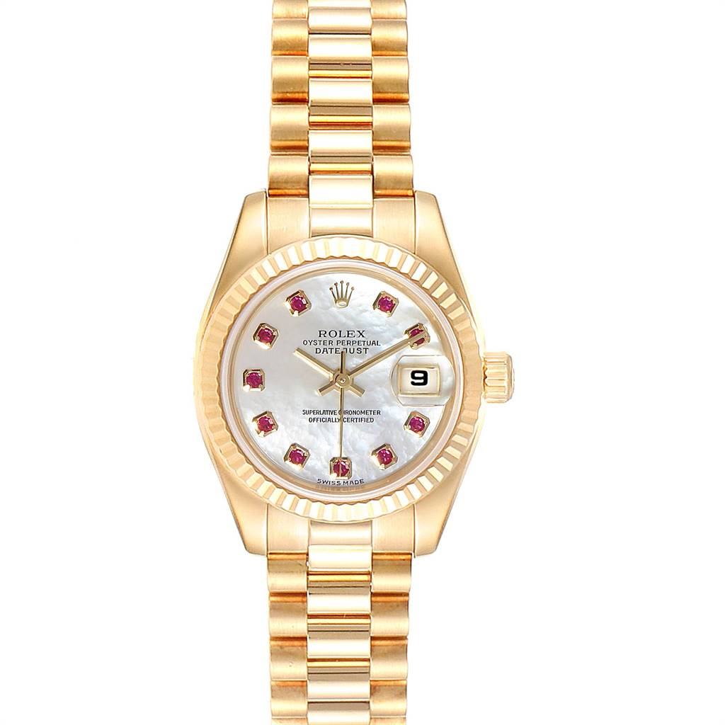Rolex President Datejust Yellow Gold MOP Rubies Ladies Watch 179178